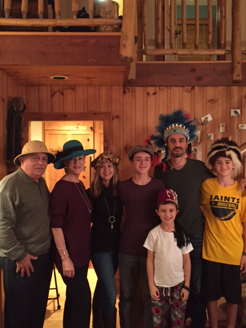 Here we are with our son and his family just before sitting down to our New Year's Eve hat dinner.