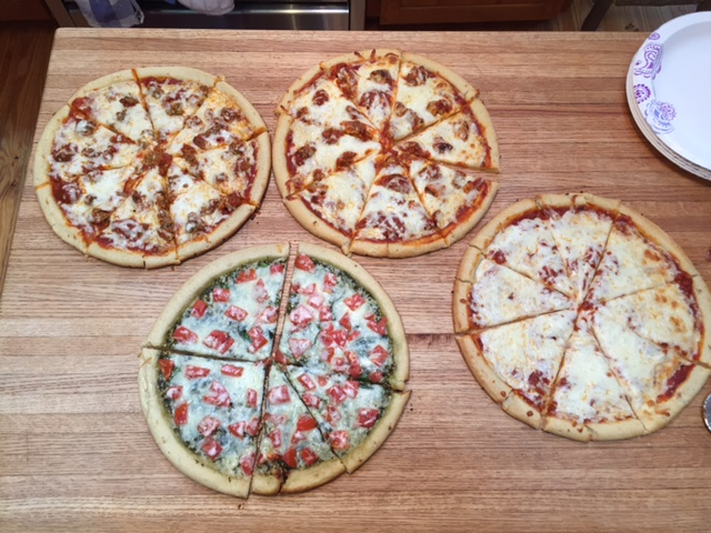 Homemade pizzas are always favorites.